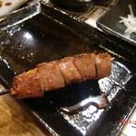 まる串 - 分厚い極上鶏レバーの串焼き190円