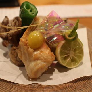 馳走菴 ひじり - 料理写真:焼きふぐ、牡蠣の天ぷら、山芋のから揚げ、舞茸