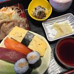 セーブル - にぎわい御膳はお寿司とポークソテーの取り合わせ。