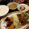 八銭 - 料理写真:A:小松菜のニンニク醤油炒め&ヒレカツ定食500円。