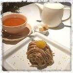 セピア カフェ - 渋皮栗のモンブラン アップルシナモンティー