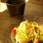 二平 - ホタテのカルパッチョ~ゆず味噌そーす~とシェフ特製スープ