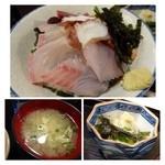 大名食堂 - 海鮮丼には「蛸・鯛・カンパチ」などがのせられています。普通に美味しいとか・・