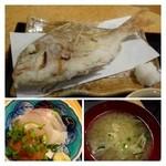 大名食堂 - 高い鯛ではないですが、一匹で出されるとインパクトや食べ応えがありますね。 軽く塩をして片栗粉を付け揚げてあります。 カンパチは普通、お味噌汁も普通に美味しいかしら。