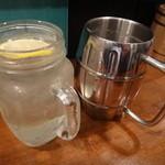 炭火ホルモン焼のネバーランド - レモンサワーと生ビール