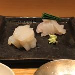 33546485 - お造り (かわはぎ と 牡丹海老) (2014/12)