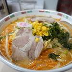 ごんじ亭 - 辛口味噌ラーメン(赤辛麺) 750円 + 大盛 170円+税