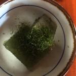 古民家食堂もちづき - 定食の付け合せの海草羊羹は磯の香り充満。