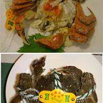 城北飯店 - 上海蟹。ボイル前の活状態と比較。城北飯店(岡崎市)20141130食彩品館.jp撮影