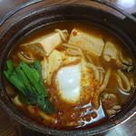 白石 うどん店 - 牡蠣と豆腐のチゲ鍋うどん