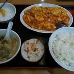 魯園菜館 - 芝海老と玉子チリソース炒め定食¥700( '13.08)