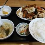 魯園菜館 - キャベツと豚バラ肉中国味噌炒め定食¥700( '13.08)