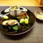 34018098 - 子持ち鮎、北寄貝のてっぱい、蛸の桜煮、藤九郎。
