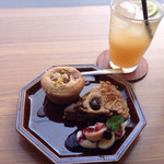 羽歩 - ジンジャーエールと甘栗タルト、さつまいもとリンゴの玄米マフィン