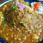 ガネーシュ m - スパイスポークキーマカレーとひよこ豆の野菜カレーのあいがけ 大盛
