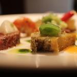 cucina Wada - 海の幸盛り合わせ あわび、メジマグロ、車エビ