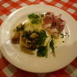 34166339 - セットの前菜(ジャガイモとツブのマリネバジルソース&生ハム)