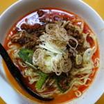 皆川食肉店 - 汁無し坦々麺(¥800税込み)最大は五辛、四辛にしました、花椒が豪快に振られています。見事な汁無し坦々麺