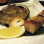 和食すがわら - 鮑の肝焼きと鰆の西京焼