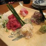 魚がし料理佃喜知 - 「刺身盛り合わせ」は4点盛り