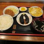 香林坊 - 精進カツ定食:精進カツ、切り干し卵焼き、味噌茄子、ご飯、えのきと茸のお吸い物6