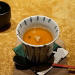 鮨 銀座 鰤門 - あさりと下仁田葱の茶碗蒸し