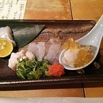 34681784 - 造り盛り  牡蠣、てっさ、鱈の白子、たちうおup
