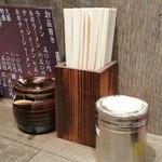 アメミ屋 - テーブルの上に設置された調味料