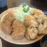 とん吉 - 料理写真:ヒレカツ&唐揚げの定食 ¥1100(2015.1.31)