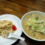 新華苑 - 料理写真:1月31日の日替定食、焼き飯(小)と味噌ラーメン