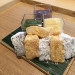 茶洒 金田中 - 本わらび餅 白玉 三色餡添へ(1,500円)