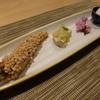かねと - 料理写真:前菜(あん肝あさつき酢味噌がけ、目光のあられ揚げ、ごま豆腐)