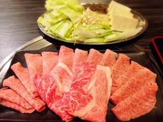 馬庵このみ - 黒毛和牛しゃぶしゃぶ (野菜付き、薬味なし) (上)1900円×2人前