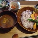 35130784 - 焼き野菜たっぷりの黒糖生姜カレー