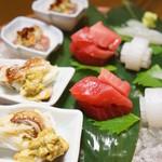千松しま - ハゼ、アオリイカ、メバチマグロ、渡り蟹、秋刀魚の糠漬け(2012/11)