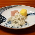 千松しま - 黄身酢と茗荷の寒天、尾花和え(2012/11)