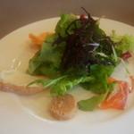 イ コッチ - サラダは愛媛産の有機野菜を中心に、サーモンのカルパッチョ、クリームチーズ、ロブスター、パテなど様々な味の変化が楽しめるアンティパスト