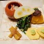 Chimatsushima - 料理写真:焼りんご、辛し蓮根、くわい煎餅とアボカド、やまごぼう、ほうれん草のごま和え、かぼちゃのいとこ煮(2015/01)
