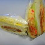 原島商店 - 紅しょうが入り厚焼きサンドとメンチミックスサンド