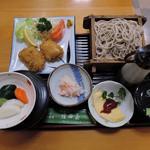 増田屋 - 本日のランチ(ささみの梅しそフライとオムレツ うどん又はそば付き)