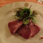 リストランテ・サバティーニ - 2012年11月 アンティパスト 旬魚のカルパッチョ(この日はブリでした) 契約農家のミスティカンツァを添えて