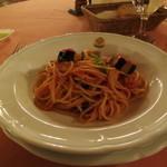 リストランテ・サバティーニ - 2012年11月 茄子とバジリコのトマトソースで和えたスパゲッティ