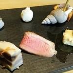 35611821 - 前菜:かぶら寿司も入っています。