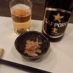 与楽 - 中瓶ビール+お通し