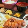 """ぢょいふる - 料理写真:""""レア豚カツ定食""""はレアで食べることが認められている""""芳寿豚""""を使用。表面はサクサクッ!中は柔らかくジューシー。甘さが口の中で広がる逸品。"""