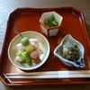 一乃松 - 料理写真:セリの胡麻和え、ふきのとう味噌、三色団子、空豆、白魚の卯の花付け(2015年3月ランチ訪問)