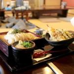 うどん本陣 山田家 - 上天丼ざる定食 (1140円) '15 2月上旬