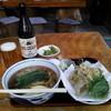 手打そば 朝日屋 - 料理写真:細打ちストレートの蕎麦と熱々サクサクの舞茸天がウマーイ\(^o^)/♪