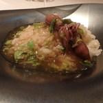 レストラン ラ フィネス - ふきのとうと蛍烏賊のあんかけです