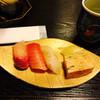 鮨処 菊之助 - 料理写真:中トロ・かんぱち・自家製玉子...あと一つなんだろう?
